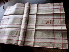 schönes altes Leinen Handtuch Geschirrtuch Tischläufer Jugendstil rot (175)