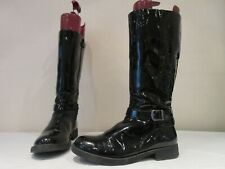 GEOX BLACK PATENT SYNTHETIC ZIP UP MID HEIGHT BUCKLE BOOTS UK 6 EU 39 (3604)