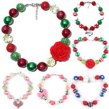 Heart Bowknot Chunky Bubblegum Necklace Kids Christmas Gift Baby Toddle Jewelry