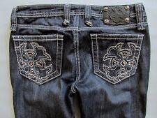 Miss Me Jeans 29 Skinny Slim Straight Cross Bling Dark Blue Denim Thick Stitch