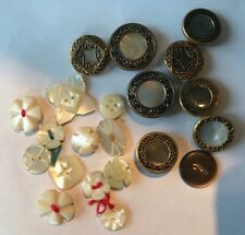 Vintage mother of pearl and metal buttons