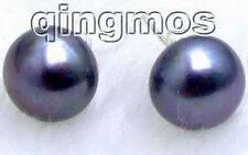 Big 12-13mm High Quality black natural Freshwater Pearl Earring S925 Stud-e256_3