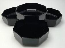 4 Arcoroc France Octime Novoctime Black Octagonal Coupe Soup Cereal Bowls