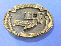 Massey Ferguson MF SUPER 92 Combine Pewter Belt Buckle 1986 Limited Edition #5505000 Trademark Grain Head barn field harvest wheat