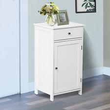 Bathroom Cabinet Storage Cupboard Double Door Freestanding Furniture MDF White