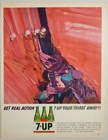 1964 Print Ad 7UP Soda Pop Lady Shoots Shotgun Drawn by Bob Peak