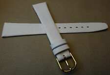 New Mens White Calfskin Genuine Leather 18mm Watch Band Gold Tone Buckle $12.99