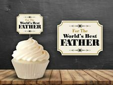 12 Worlds Best Father Cupcake Toppers Party Cake Dad Birthday Party Fathers Day