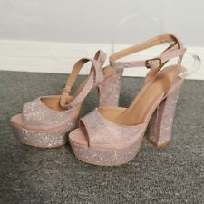 Womens Fashion Peep Toe Sandals Slingback Heels Rhinestone Platform Buckle Shoes