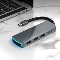 6in1 Multifunctional HD Docking Station Type-C to HDMI USB3.1 w/ Breathing Light