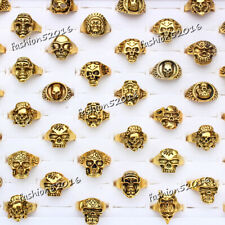 biker men Gold tone rings jewelry Free wholesale lots 5pcs skull carved