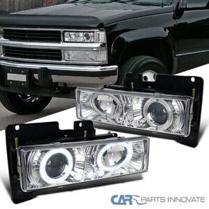 For 88-98 C10 C/K Tahoe Blazer Sierra LED Dual Halo Projector Headlights Lamps