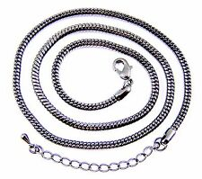 Necklace Chain Snake Gunmetal Black Plate Adjustable 19 20 21 Inch, 3mm Thick