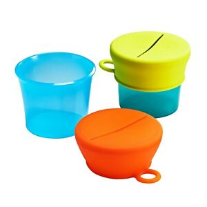 Boon SNUG Snack Universal Silicone Snack Lid & Cup Set, Blue/Green, Brand New