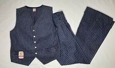 vtg Buster Brown retro Denim Leisure Suit Bell Bottom Vest 70s Pinstripe Size 12