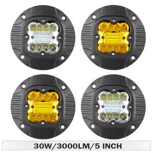 "30W 5"" LED Work Light Bar Flush Mount Pod Yellow White Fog Offroad Truck SUV 4WD"