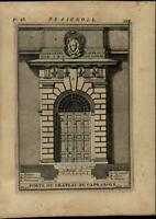 Door of Caprarola Chateau Castle Gate nice 1696 rare antique Architecture print