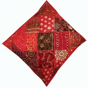 """33% OFF 24"""" RED STUNNING SARI  DECOR SEQUIN ACCENT THROW CUSHION PILLOW COVER"""