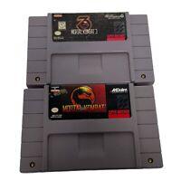 LOT OF 2 Mortal Kombat 1,3 (Super Nintendo Entertainment System) SNES TESTED