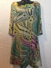 NEW WITHOUT TAGS DESIGNER CHARLIE BROWN YELLOW FLORAL STRETCHY SHIFT  DRESS