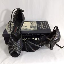 Diamant Ballroom Dance Shoes Size 6 Black Silver Hologram 2 Inch Heel