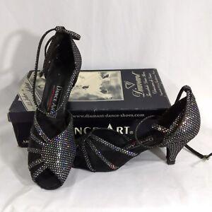 "Diamant Ladies Ballroom Dance Shoes Size 6UK 9 US Black Silver Hologram 2"" Heel"