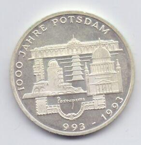 B.UNC 1993F German Silver 10 Mark Coin 15.5g 1000th Anniversary Potsdam Germany