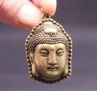 Exquisite Chinese Old handmade brass Buddha head pendant statues