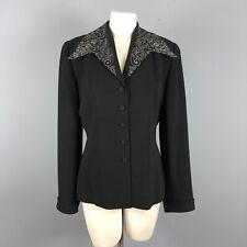Zelda Womens Black Blazer Jacket Womens Size 8 Vintage 1940s Style