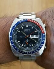 RARE NOTCH CASE SEIKO CHRONOGRAPH POGUE PEPSI 6139.6000 MENS AUTOMATIC WATCH