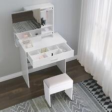 White Dressing Vanity Table Makeup Desk Sliding Mirror Shelves Drawer Wood Stool