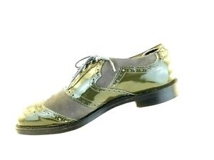 BOSTONIAN MENS VTG Gray GrnSUEDE PATENT LEATHER WINGTIP BROGUE GOLF SHOES 9.5 E