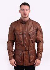 Belstaff Mens Trialmaster 'Panther' Brown Gold Leather Jacket, 54/44, XL $1800