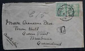 RARE 1906 Egypt Cover ties 2 stamps Port Said to Australia English Mail TPO