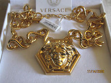 $1750 AUTHENTIC NWT VERSACE LARGE GOLD MEDUSA MEDALLION CHUNKY CHAIN NECKLACE