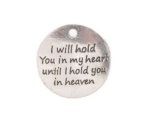20PCS I will hold you in my heart until I hold you in heaven Charms