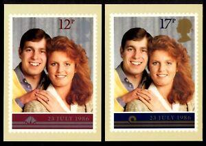 ROYAL MAIL STAMP CARD SERIES #PHQ-95-a,b 1986 ROYAL WEDDING SET/2, UNUSED