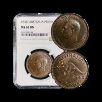 1943 Australia Penny - NGC MS62
