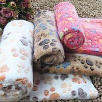 Warm Pet Mat Small Large Paw Print Cat Dog Puppy Fleece Soft Blanket Cushion GA#