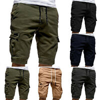 Mens Jogger Shorts Sports Cargo Pants Army Military Combat Workout Gym Trousers