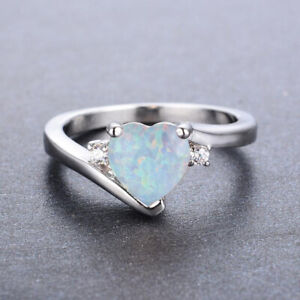 925 Silver Plated Heart White Fire Opal Ring for Women Wedding Jewelry Size 6-10