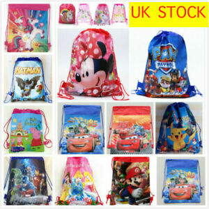Kids Drawstring PE Party Bag School Bag Backpack Girls Boys Swimming bags