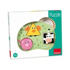 Goula - Puzzle 3 Animali della Fattoria - Legno - Puzzle per Bambini Piccoli