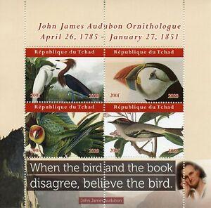 Chad Birds on Stamps 2020 MNH John James Audubon Puffins Parrots Art 4v M/S II