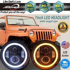 CREE 7INCH Led Headlight Halo Angel Eye DRL Amber Turn Signal Jeep CJ5 CJ6 CJ7