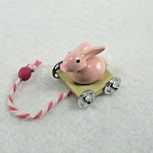 WMH Dollhouse Miniature Easter /Nursery Bunny Pull Toy - Pink