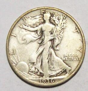 1936-S WALKING LIBERTY HALF DOLLAR   Sharp VF+   #17B60