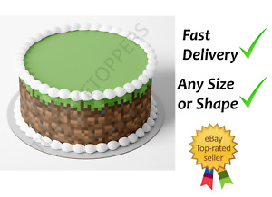 Grass Block Pixel Edible Cake Bands Ribbon Cake side strips Icing or Wafer