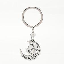 Gift For Mum - Rose Silver Heart & Moon Mom KeyChain Love Her Mum Girl Women AT