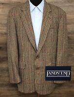 VTG Lands' End Men's Houndstooth Wool Plaid Blazer Sport Coat Jacket USA 43L